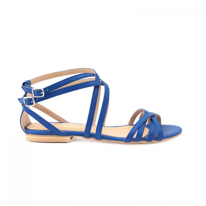 Sandale cu talpa joasa, din piele naturala, albastru intens 0
