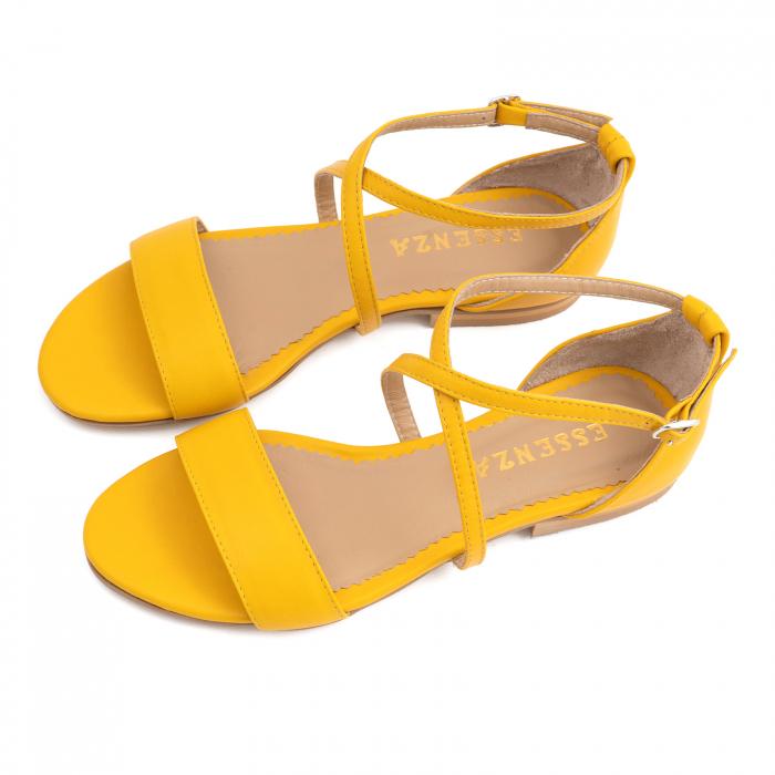 Sandale cu talpa joasa, din piele naturala galbena 2