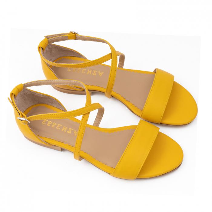 Sandale cu talpa joasa, din piele naturala galbena 3