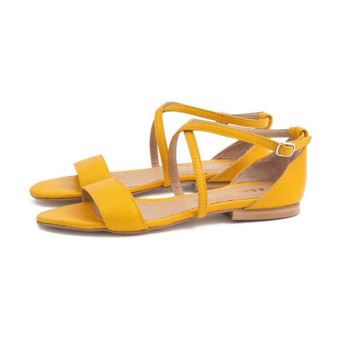 Sandale cu talpa joasa, din piele naturala galbena 1