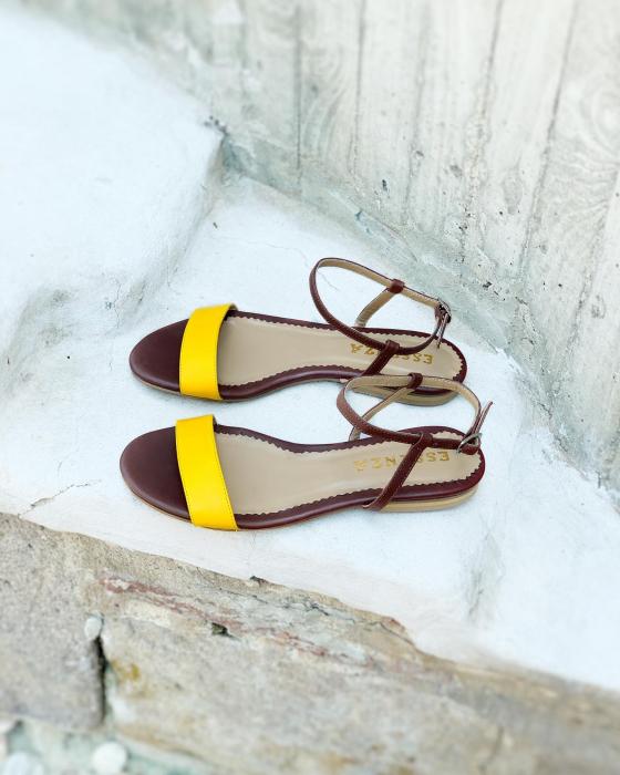 Sandale cu talpa joasa, din piele naturala maron si galben. 1