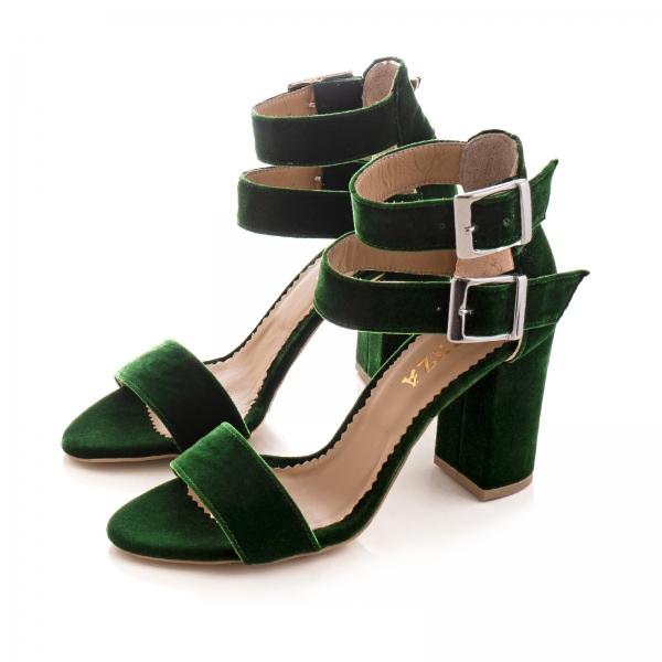 Sandale cu toc gros, din catifea verde 2