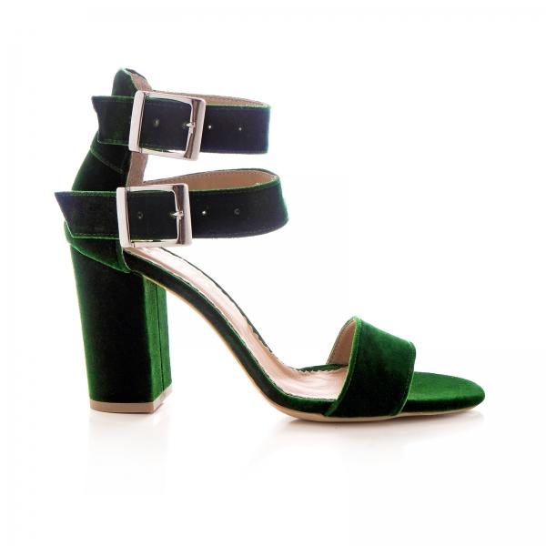Sandale cu toc gros, din catifea verde 0