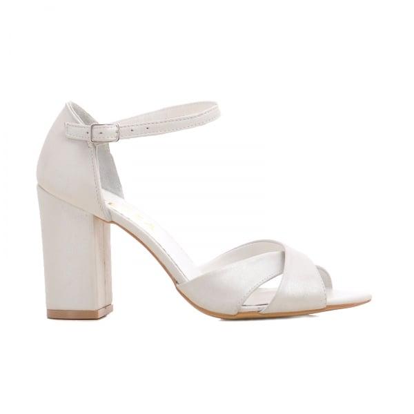 Sandale cu toc gros, din piele alba 0