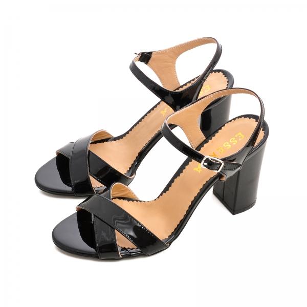 Sandale cu toc gros, din piele lacuita neagra [2]