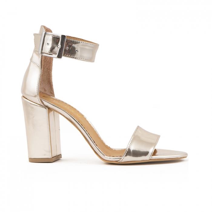 Sandale cu toc gros, din piele laminata de nuanta argintiu-oglinda 0
