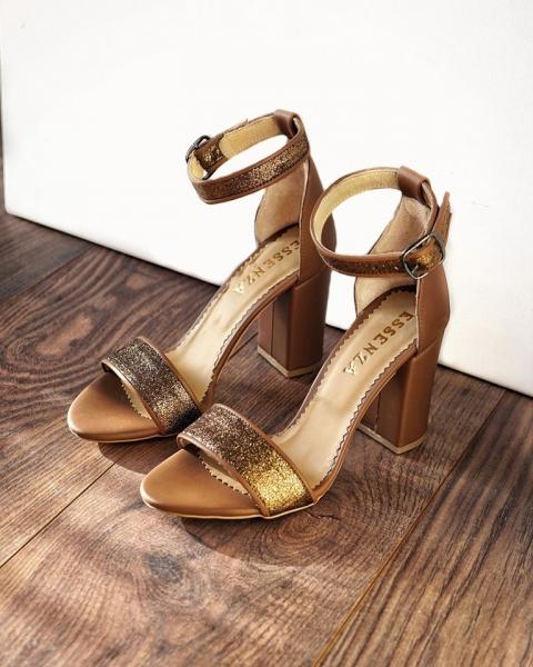 Sandale cu toc gros, din piele maro si piele glitter bronz 0