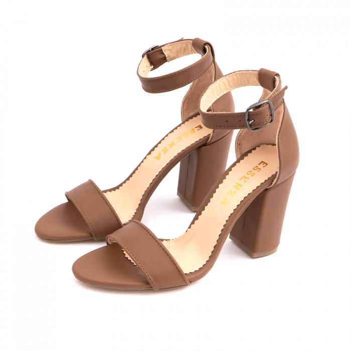 Sandale cu toc gros, din piele naturala maron [1]