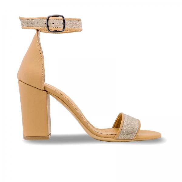 Sandale cu toc gros, din piele naturala nude si piele glitter 0