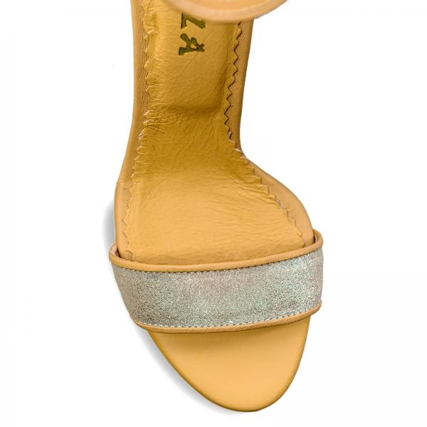 Sandale cu toc gros, din piele naturala nude si piele glitter 3
