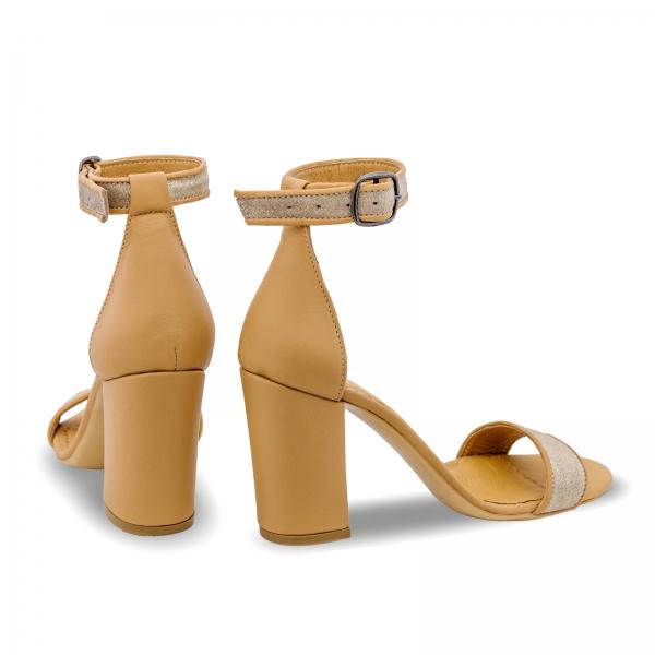 Sandale cu toc gros, din piele naturala nude si piele glitter 2
