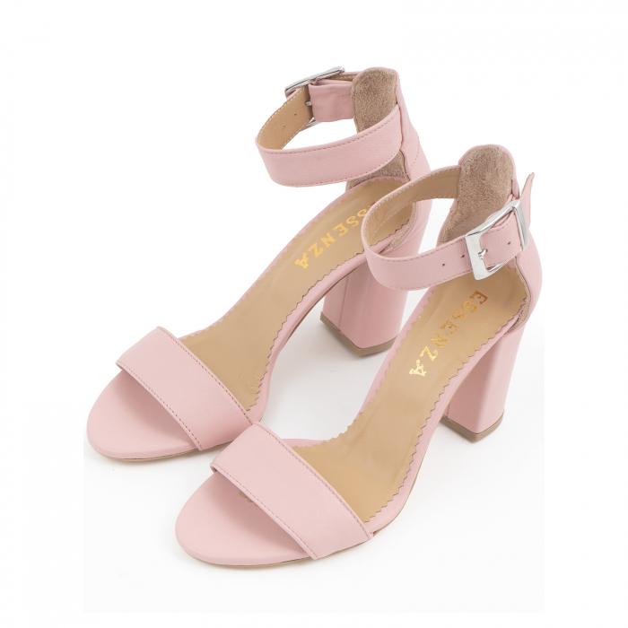 Sandale cu toc gros, din piele naturala roz 2