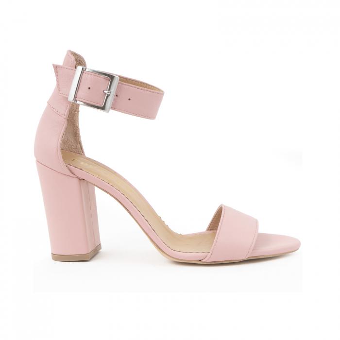 Sandale cu toc gros, din piele naturala roz 0