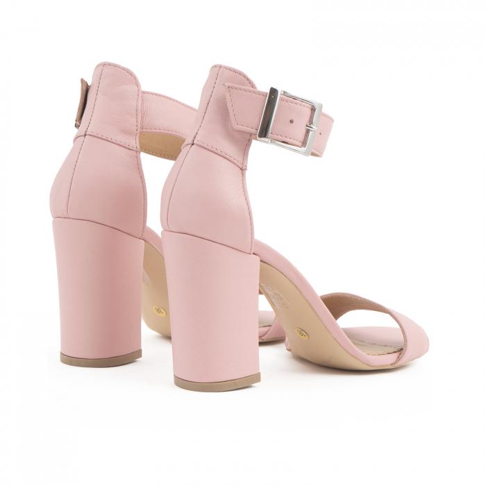 Sandale cu toc gros, din piele naturala roz 3
