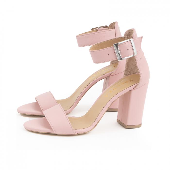 Sandale cu toc gros, din piele naturala roz 1