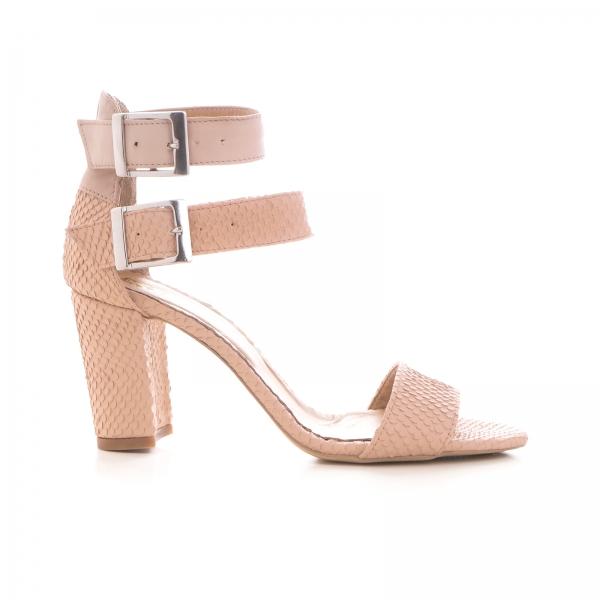 Sandale cu toc gros, din piele roz cu textura de piele de sarpe, si piele nude roze [0]
