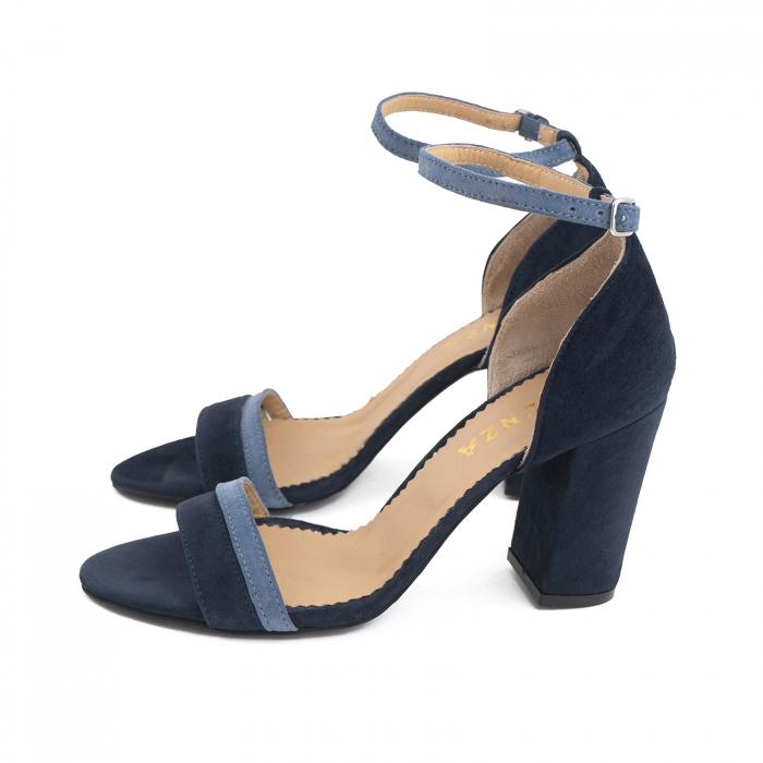 Sandale cu toc patrat, din piele intoarsa albastru inchis si albastru deschis 1