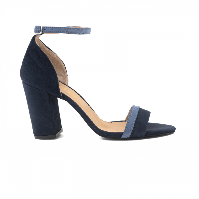 Sandale cu toc patrat, din piele intoarsa albastru inchis si albastru deschis 0