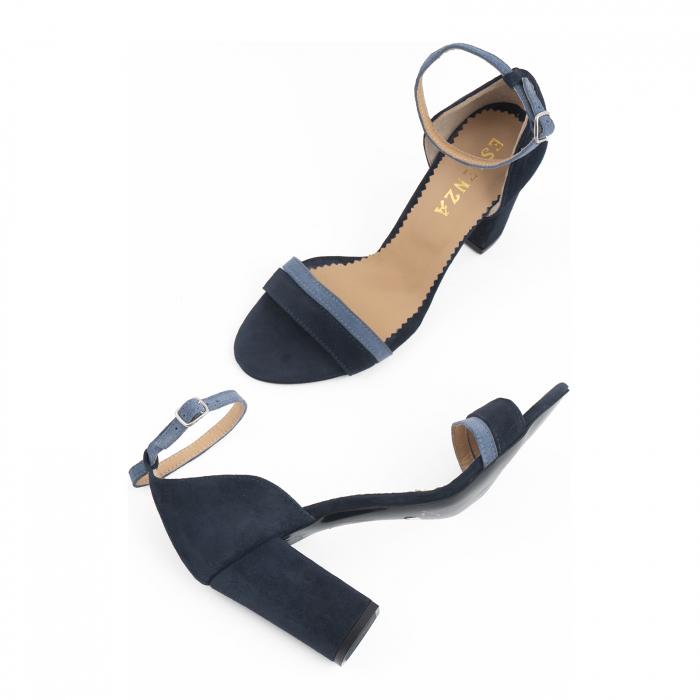Sandale cu toc patrat, din piele intoarsa albastru inchis si albastru deschis 2