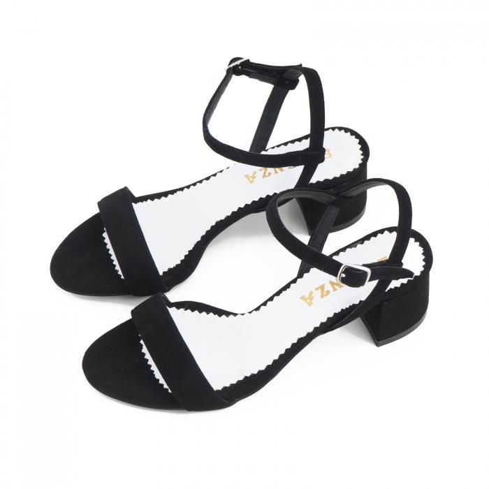 Sandale cu toc patrat, din piele intoarsa neagra 2