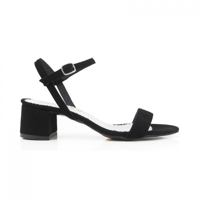 Sandale cu toc patrat, din piele intoarsa neagra 0