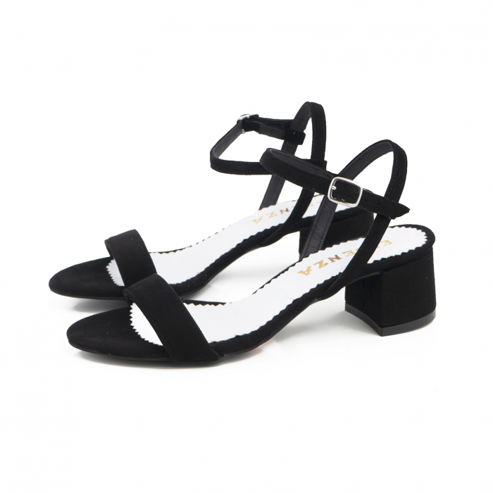 Sandale cu toc patrat, din piele intoarsa neagra 1