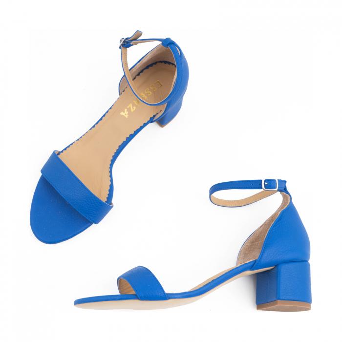 Sandale cu toc patrat, din piele naturala, albastru texturat 2