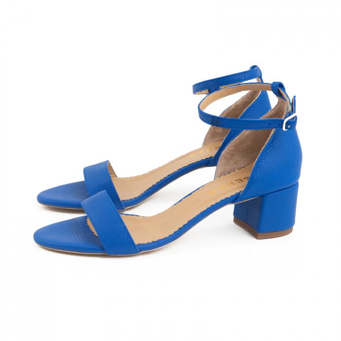 Sandale cu toc patrat, din piele naturala, albastru texturat 1