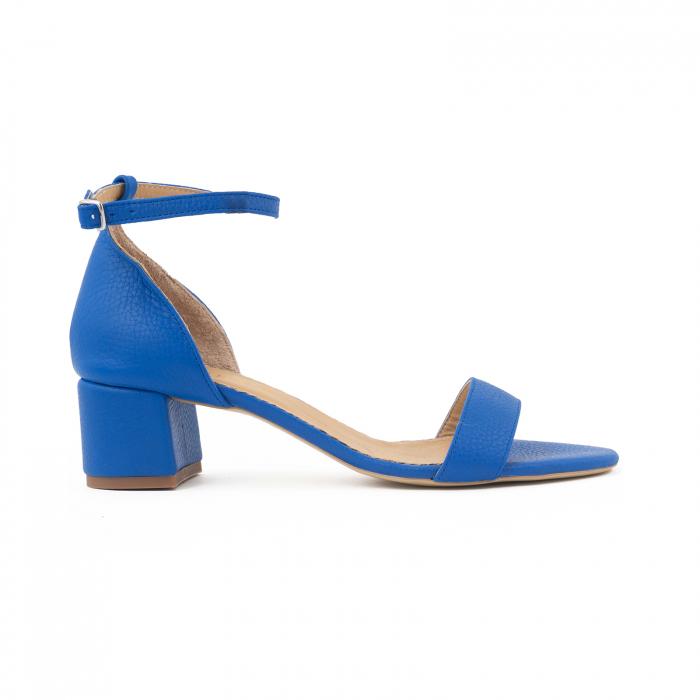 Sandale cu toc patrat, din piele naturala, albastru texturat 0
