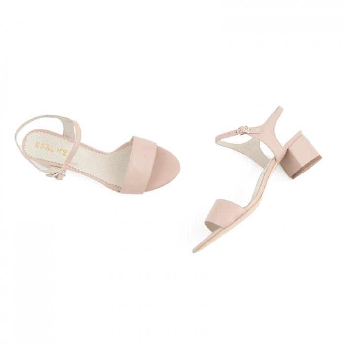 Sandale cu toc patrat, din piele naturala nude rose [2]