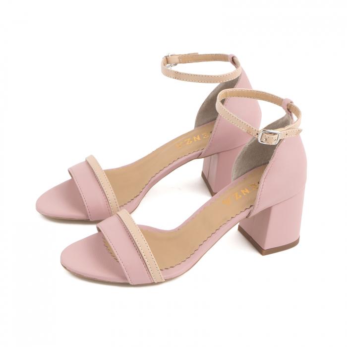 Sandale cu toc patrat, din piele naturala roz si nude rose [1]