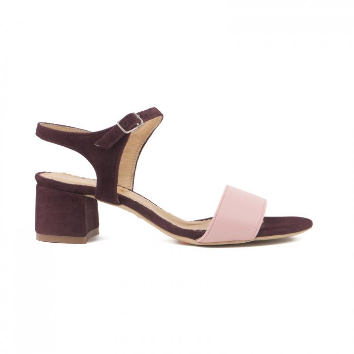 Sandale cu toc patrat, din piele naturala roz si piele intoarsa mov [0]