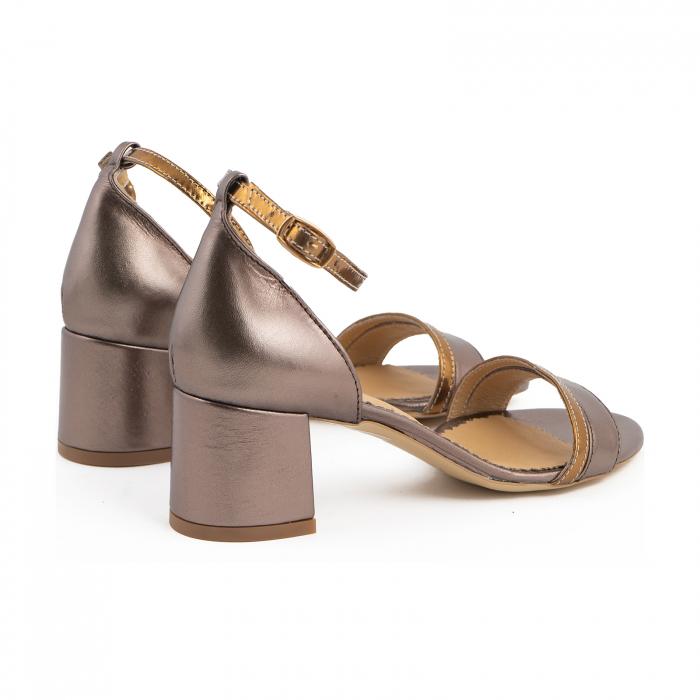 Sandale cu toc patrat, din piele sidefata bronz si piele laminata aurie [2]