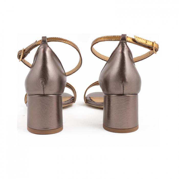 Sandale cu toc patrat, din piele sidefata bronz si piele laminata aurie [3]