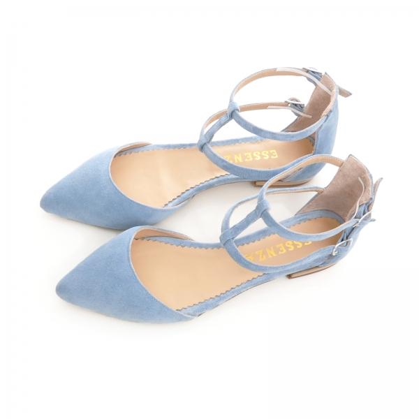 Sandale cu varf ascutit , albastru -seren 2