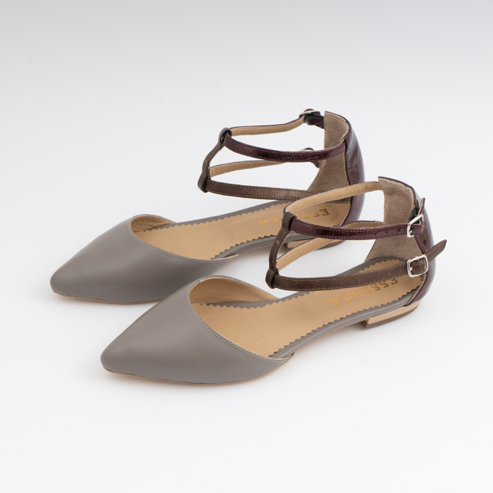 Sandale cu varf ascutit , din piele naturala grej si piele lacuita visinie [1]