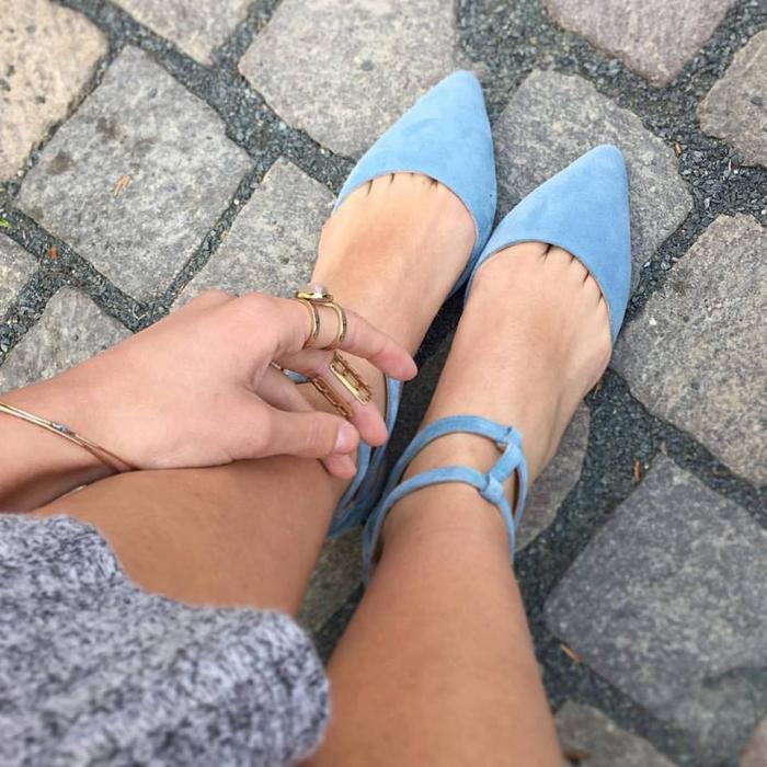 Sandale cu varf ascutit , din piele naturala intoarsa albastru-seren 0