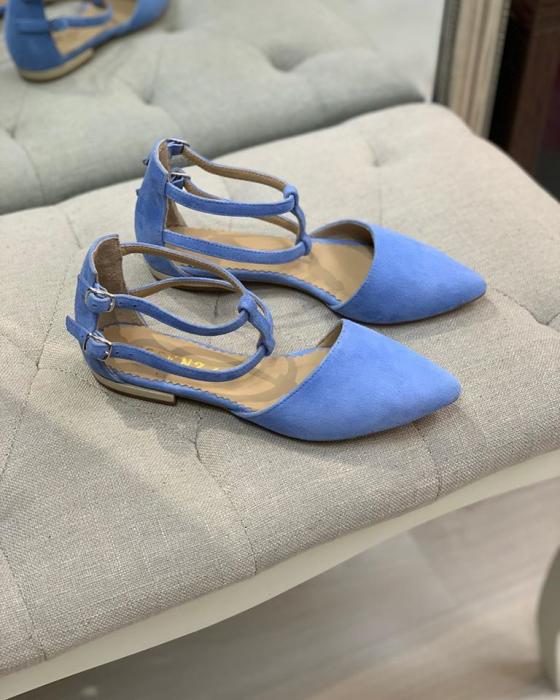 Sandale cu varf ascutit , din piele naturala intoarsa albastru-seren 1