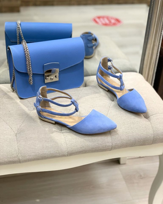 Sandale cu varf ascutit , din piele naturala intoarsa albastru-seren 3