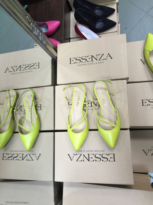 Sandale cu varf ascutit , din piele naturala verde lime deschis 0