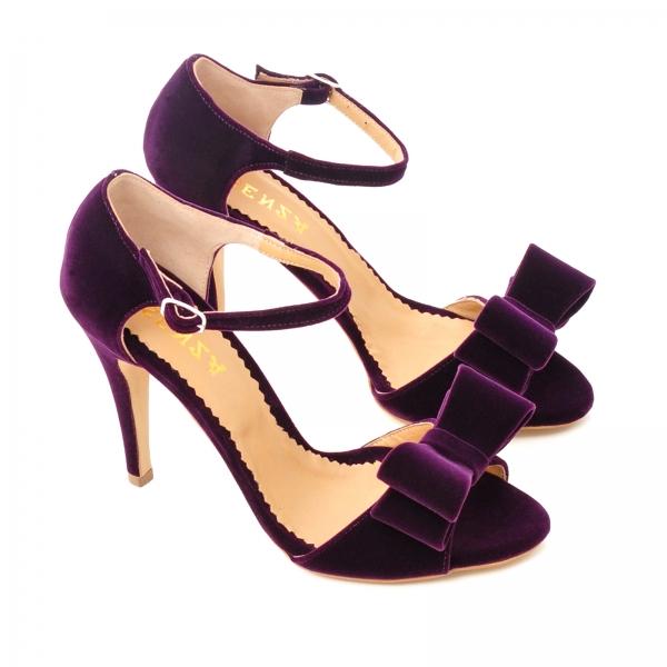 Sandale din catifea mov, cu funde 1