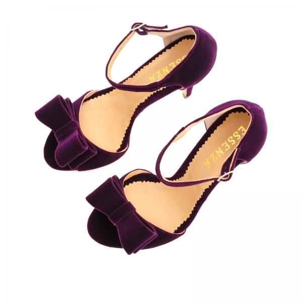 Sandale din catifea mov, cu funde 2