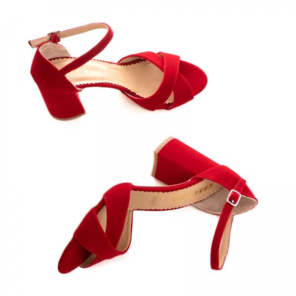 Sandale din catifea, rosu aprins 2