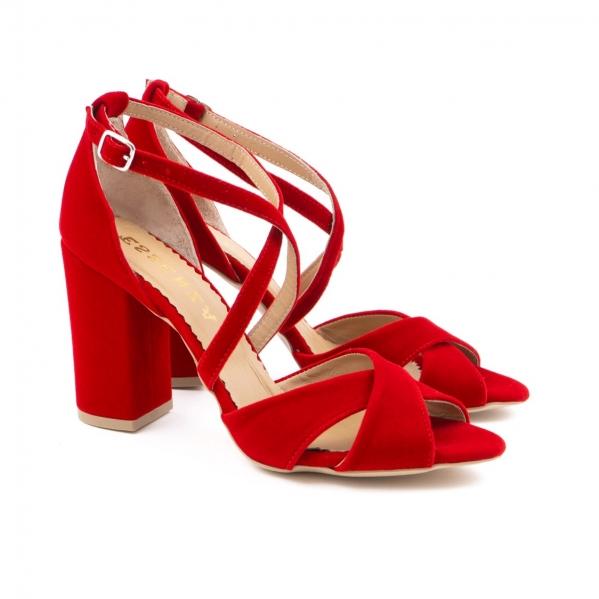 Sandale din catifea, rosu aprins 1