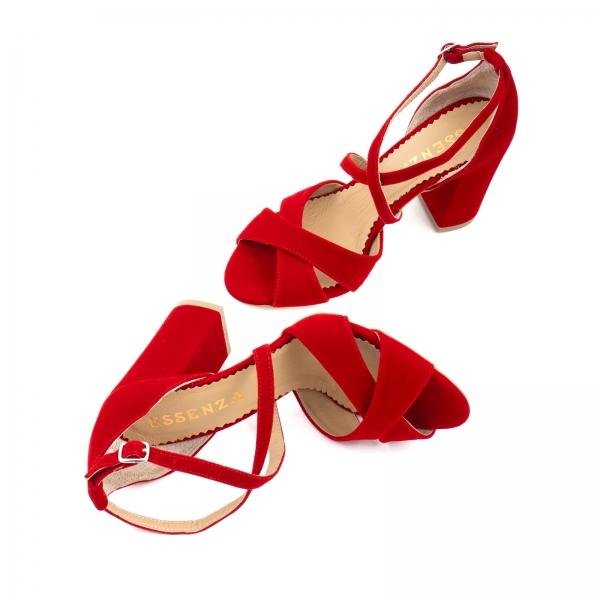 Sandale din catifea, rosu aprins [2]