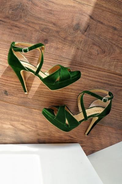 Sandale din catifea verde 0