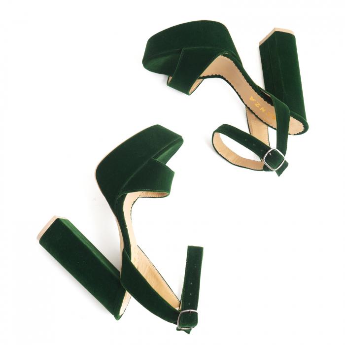 Sandale din catifea verde, captusite cu piele naturala, cu toc gros patrat si platforma 2