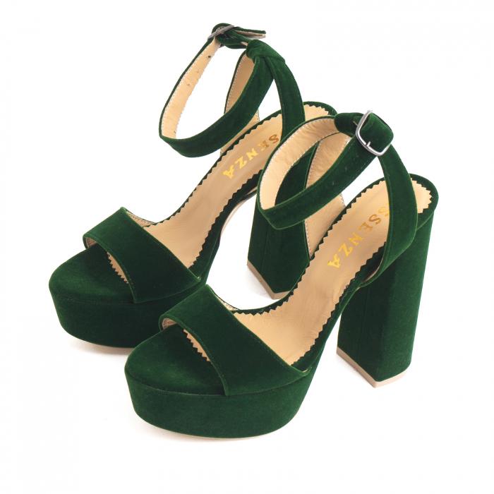 Sandale din catifea verde, captusite cu piele naturala, cu toc gros patrat si platforma 1