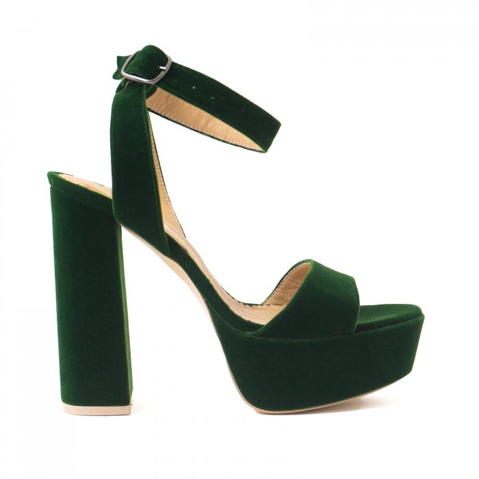 Sandale din catifea verde, captusite cu piele naturala, cu toc gros patrat si platforma 0