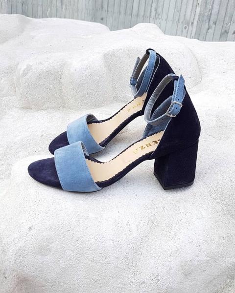 Sandale din piele albastra, cu toc gros [0]